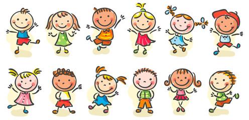 Happy cartoon sketchy kids