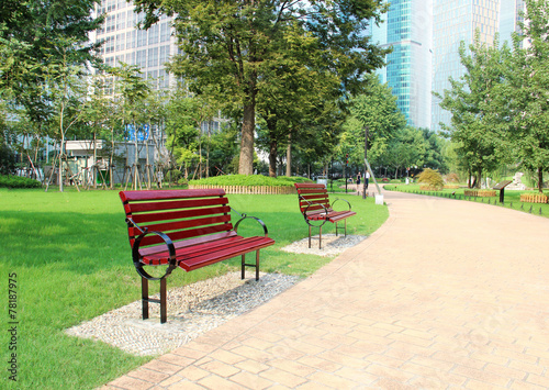 bench in a beautiful park - 78187975
