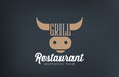 Logo Beef Grill BBQ restaurant bar design. Barbecue Cow - 78188197