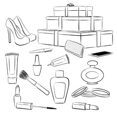 Fashion accessories and makeup set