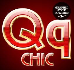 Red alphabet with golden border. Letter Q