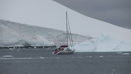 Small yacht in Paradise Harbour, Antarctica