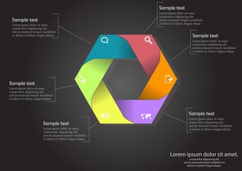 Hexagon infographic on black background