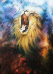 cosmical lion painting