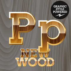 Vector set of wooden characters with gold border. Letter P