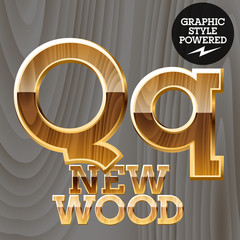 Vector set of wooden characters with gold border. Letter Q