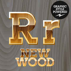Vector set of wooden characters with gold border. Letter R