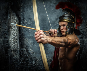 Young man in Roman armor.