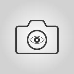 The camera icon. Photo symbol. Flat