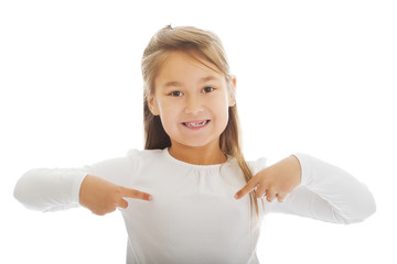 Girl pointing herself