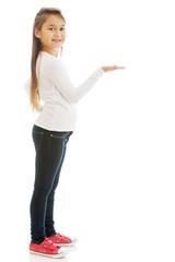 Girl showing something
