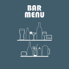 Drinks line icons in simple flat design. Alcohol and other