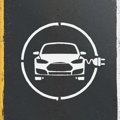 Electric Eco Car Charging Station Icon on asphalt texture