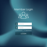 Login form menu with simple line icons. Blurred background - 78190947