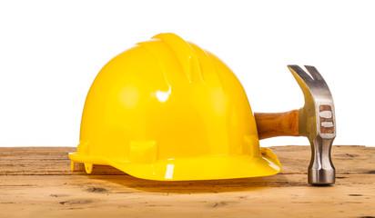yellow helmet and hammer