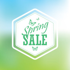 Spring sale poster with hexagonal badge. Typographic text