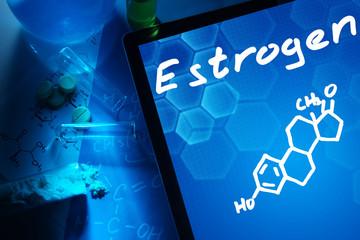 Tablet with the chemical formula of estrogen.