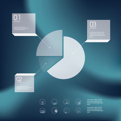 Pie chart infographics template. Line icons of project