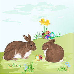 Easter rabbits and easter eggs vector