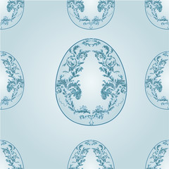 Seamless texture blue easter eggs vintage vector illustration