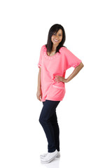 Woman wearing pink shirt