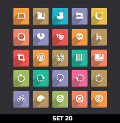 Trendy Vector Icons With Long Shadow Set 20