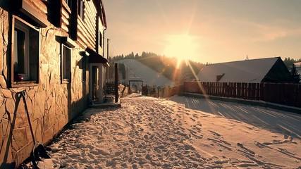 Fantastic winter landscape. Snowy mountains.