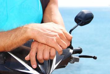 traveler on a motorbike