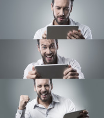 Confident businessman with digital tablet, photo collage