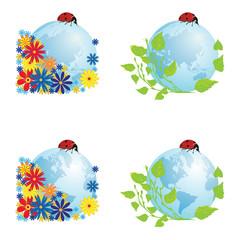 set of globes with ladybird