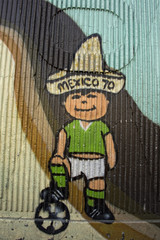 wall painting football player mexico 70