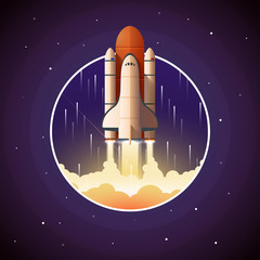 Space Shuttle Launch. Vector illustration with spaceship