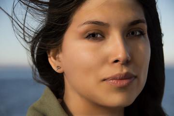 beautiful black hair mexican woman