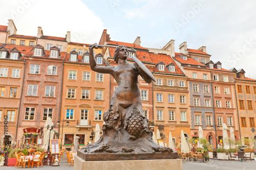 obraz PCV Syrenka pomnik Rynek Starego Miasta. Warszawa, Polska