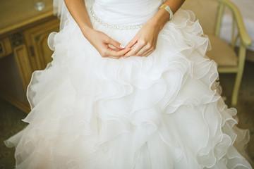 bride's Hands on white dress