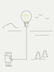 Concept of idea - man holding a balloon - lightbulb