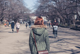 Woman walking in Ueno Park - Fine Art prints