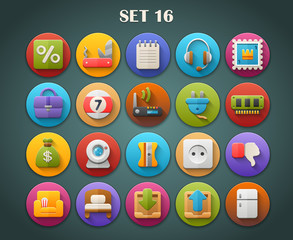 Round Bright Icons with Long Shadow Set 16