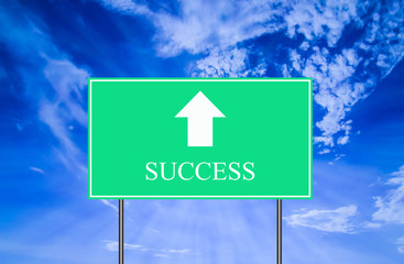 Success Traffic Sign with Blue Sky