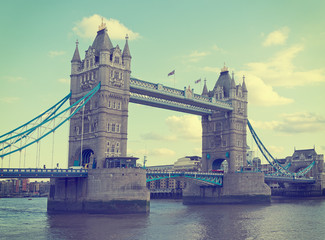 Tower Bridge, London, England. Retro filtered image.
