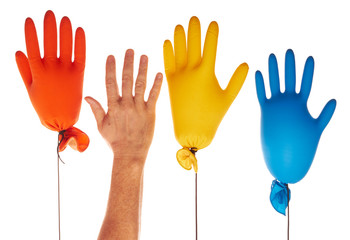 Color gloves ballons