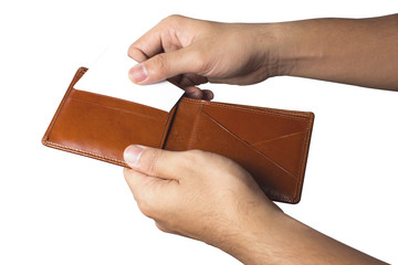 hand and taking out credit card from wallet.