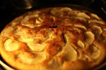 Apple pie in oven