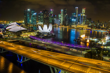 Marina Bay Sands view from Singapore Flyer at Night in singapore