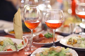 tableware, glass beakers in the restaurant