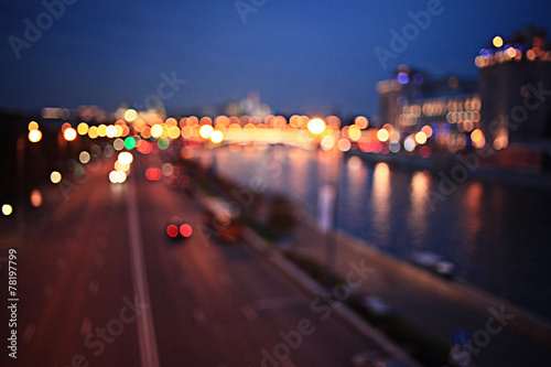 abstract night background bokeh city - 78197799