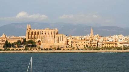 Cathedral and city embankment. Palma-de-Majorca, Spain