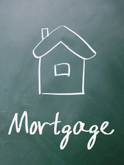 house mortgage sign on blackboard