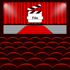 Chairs cinema, curtain, film, background vector illustration