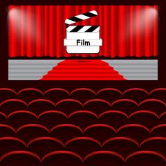 Chairs cinema, curtain, film, background vector illustration